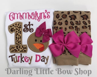 Baby Girl First Thanksgiving Outfit bodysuit and leg warmers -- Turkey Day Glam -- fuchsia and leopard print personalized outfit