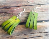 Green Leather earrings, handmade, drop style