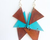 Turquoise Leather earrings, tan leather triangles, handmade, geometric style