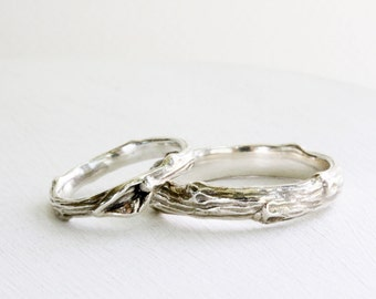 Wedding Silver Branch Band Ring Set, Mens and Womens Twig Wedding Rings,  Wedding Branch Band Ring Set-style 1