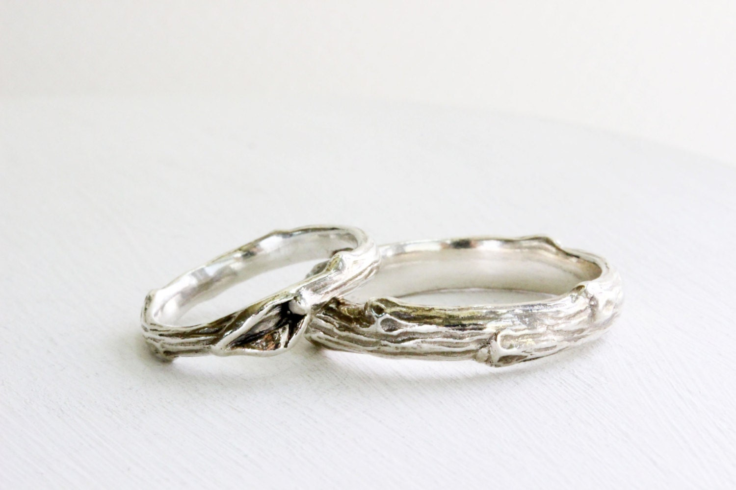 wedding silver branch band ring set mens and womens twig