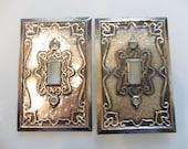 Vintage Hollywood Regency Silver Metal Switchplates