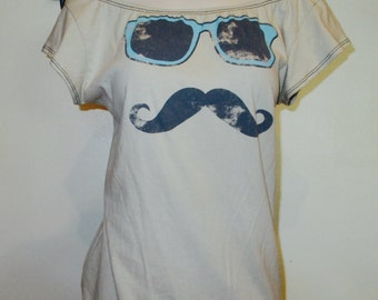 Vintage Custom Made Moustache and Glasses DIY T Shirt  Into Sexy Scoop Top
