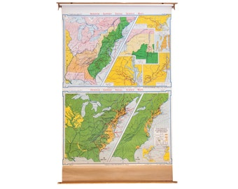 DISCOUNTED Vintage Pull Down Map of USA
