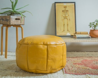 Antique Revival Leather Moroccan Pouf Ottoman- Mustard Yellow