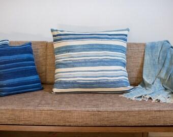 ON SALE 24x24 Light Striped Indigo Large Pillow