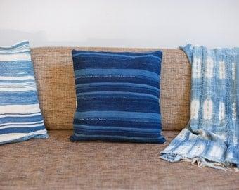 ON SALE Dark Blue Striped Indigo Throw Pillow