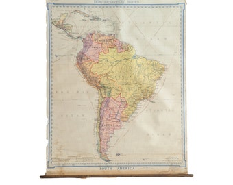 DISCOUNTED Vintage Denoyer Geppert 1919 South America Pull Down Map