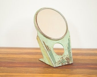 DISCOUNTED Vintage Art Deco Green Hollywood Mirror