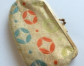 Vintage Brocade Coin Purse Geometric Multi Colored Gold Threads 1960's