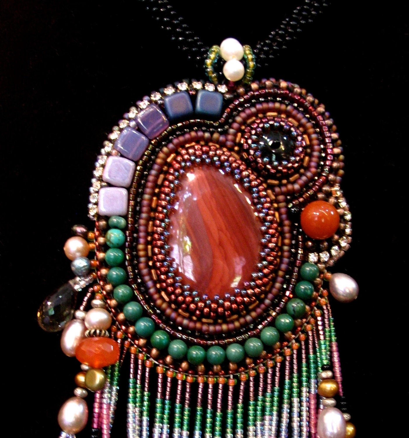 Red Chandelier India: Indian Red Embroidery Pendant Tribal Necklace