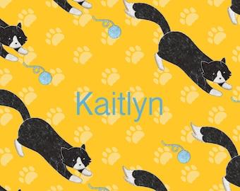 Playful Black Cat Fleece Blanket