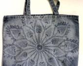 Blue denim cotton tote shoulder bag shopper color removal floral print motif large flower go green