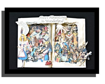 ALICE in Wonderland - 12x16x3 Book Sculpture - Shadowbox Framed - FREE Shipping