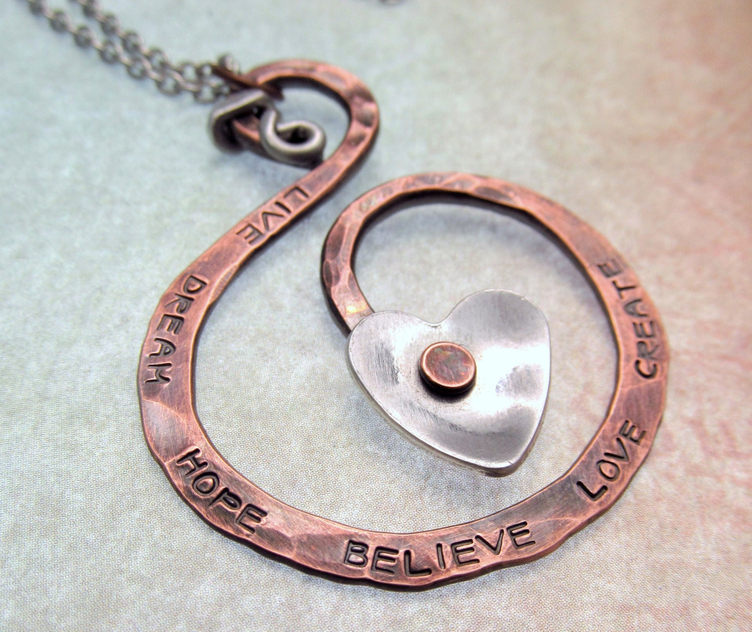 Copper metalwork necklace hand stamped jewelry for How to make hand stamped jewelry