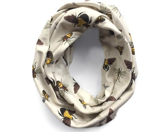 Bumble, Honey, & Squash Bees Infinity Scarf - Organic Cotton
