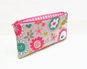 zipper pouch pencil case makeup bag big flowers pink