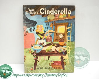 Vintage Walt Disney Cinderella Book 1950 Hardcover with Magical Stylized Illustrations