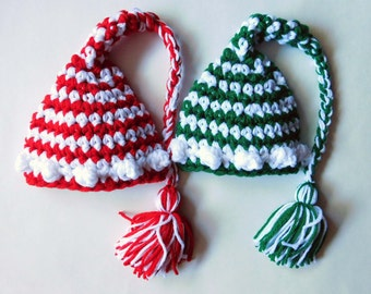 Baby Boy or Baby Girl Christmas Crochet Elf Hat And Photography Prop All sizes