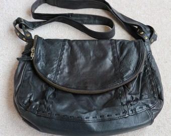 Black leather slouchy shoulder bag