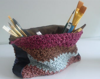 SALE Reversible suede and textile pot , open bag with crocheted silk/cotton and leather sides.