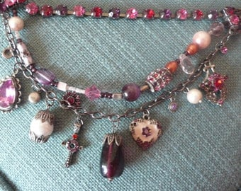 Charm necklace pink red beads glass metal Pilgrim style heart cross