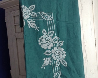 Vintage Cross Stitch Linen Tablecloth in Deep Green With White