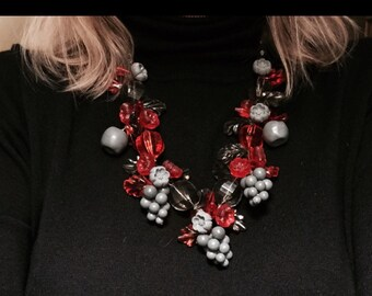 Vintage Lucite Statement Necklace. Red and Grey Vintage Lucite Fruit and Flower Necklace. Chunky and OOAK. Original Tag
