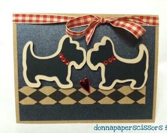 Scottie Dog Card. Handmade Kissing Doggie Greeting Card.
