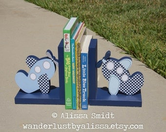 Custom Designed Wooden Airplane Bookends - Custom Created to Coordinate with Your Decor or Nursery Letters (transportation, blue, navy)