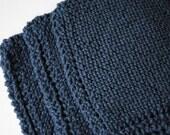 Set of 3 Cotton Dish Cloths, Navy Blue, 100% cotton, biodegradable, green, environmentally friendly