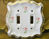 Vintage Shabby Cottage French Country Chic Rose Porcelain Ceramic Double Switch Cover Plate