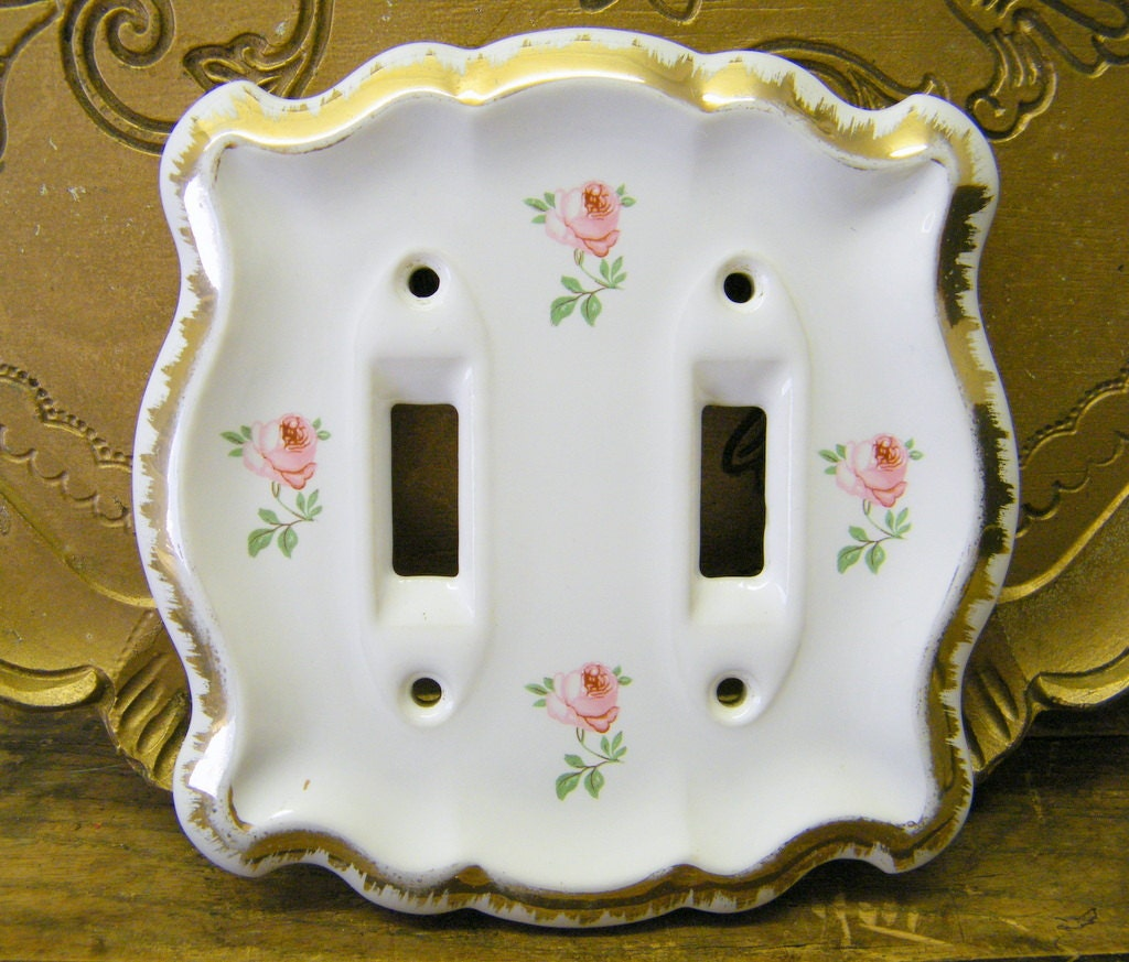 Vintage Porcelain Ceramic Double Switch Cover Plate