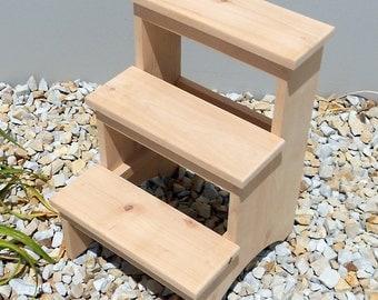 Rustic Alder 3 Step Stool
