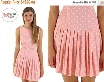 On Sale - Peach Polka Dot Dress / Vintage 90s Dress / Drop Waist Dress . xs sm