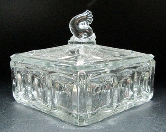 glass box with fish / dolphin final , Fenton Plymouth Dolphin 1930's