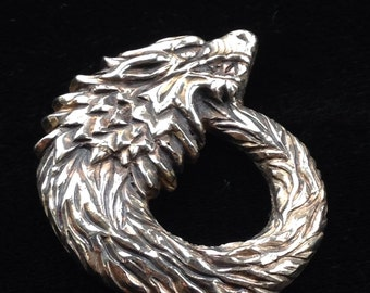 Dire Wolf pin pendant brooch / white bronze / house stark / game of thrones / necklace / mens jewelry / wolf jewelry / hand carved