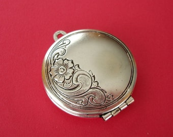 Round Photo Locket Ox Silver Brass Engraved Floral Victorian Style Pendant.