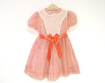 Vintage Girl's Clothes, 1950's Red and White Striped Chiffon Dress, 1950s Girls Dress, Vintage Girls Dress, Size 5-6