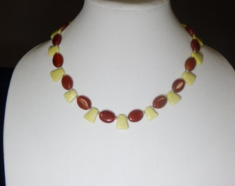 Yellow Jade and Carnelian Necklace