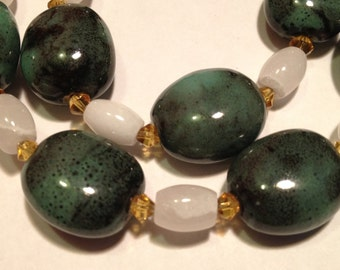 Classy Lady: Handmade Necklace Featuring Ceramic Beads and Swarovski Crystals