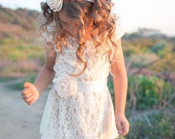 Champagne flower girl dress, lace baby dress, rustic flower girl dress, country flower girl dress, lace Christmas dress, flower girl dress.