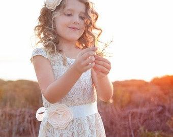 lace flower girl dress- rustic flower girl dress- lace girls dress- lace baby dress- Burlap wedding dress- country flower girl- girls dress