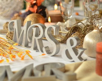 Mr and Mrs  silver glitter wedding table signs Wedding table decoration Mrs and Mr wedding sign