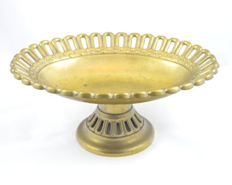 Vintage Pedastal Brass Bowl . Serving Dish