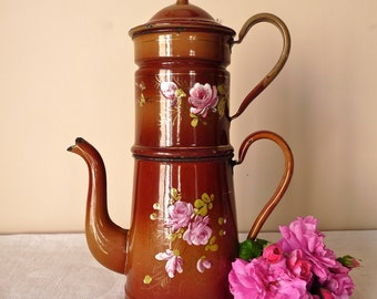 19th, french antique enamel Chocolate Brown With Rose coffee pot -shabby chic lovely french enamelware - Enamel coffee pot - romantic