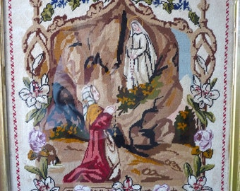 RARE Antique French Holly Tapestry Petit point Image of Our Lady of Lourdes, LOURDES, romantic home, french romantic, religious object