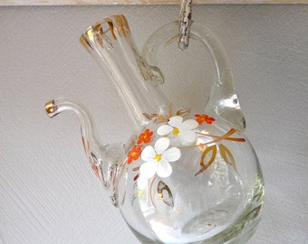 French Antique Perfume Bottle, French Vanity, French Boudoir Decor Flask Flacon Flowers Handpainted