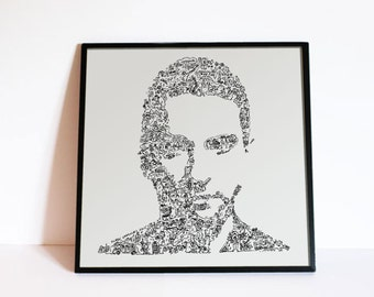 """Dave Gahan Portrait. Limited Edition Print. Drawing of the depeche mode singer life - 8"""" X 8"""""""