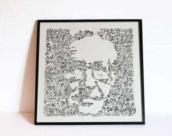 "Noam Chomsky the linguistic anarchist - art poster - Intricate Doodles Portrait - Ltd Edition of 100 - 8"" x 8"""